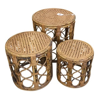 Vintage Boho Chic Bamboo + Caned Nesting Tables - Set of 3 For Sale