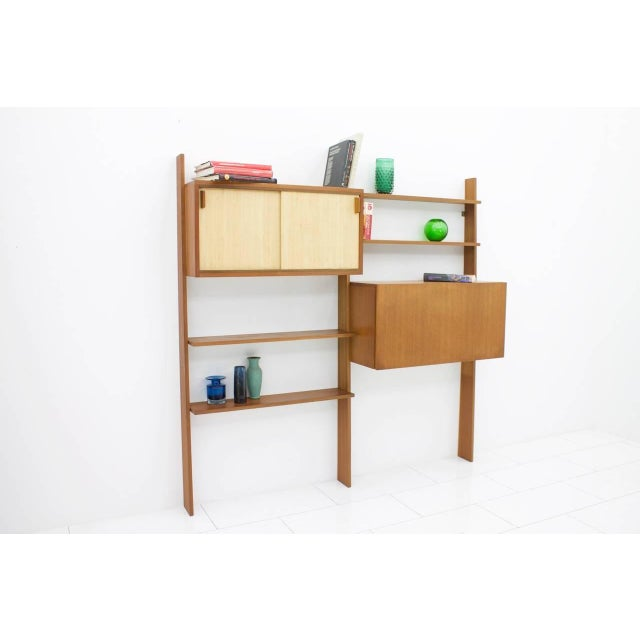 Brown Dieter Waeckerlin Teak Shelf With Seagrass Sliding Doors With a Bar or Desk, 1950s For Sale - Image 8 of 10