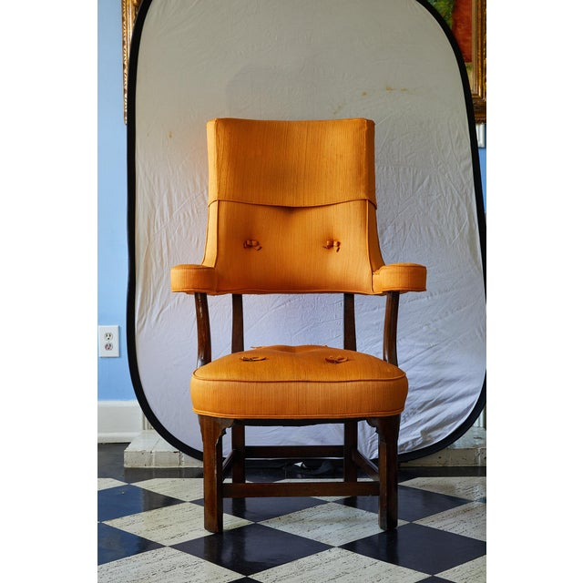 Early 20th Century Early 20th Century Mahogany Arm Chair in Vintage Orange Upholstery For Sale - Image 5 of 13