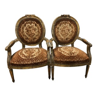 19th Century Carved Louis XVI Arm Chairs - a Pair