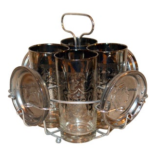 Vintage Silver Fade Glass Bar Set of 8 For Sale