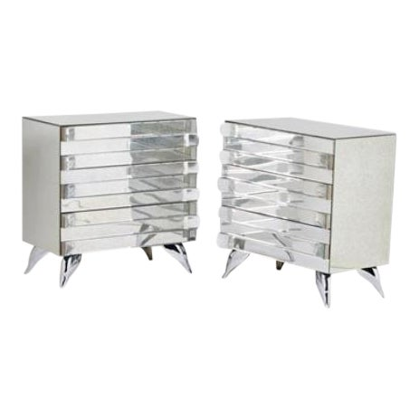 Hollywood Regency Style Mirrored Chests - A Pair - Image 1 of 4