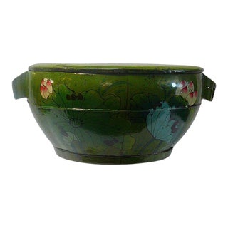 Chinese Green Color Floral Round Wood Bucket