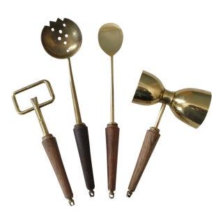 4 Piece Mid Century Bar Tool Set Brass Wood Italy Utensils