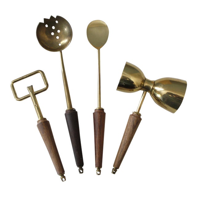 4 Piece Mid Century Bar Tool Set Brass Wood Italy Utensils For Sale
