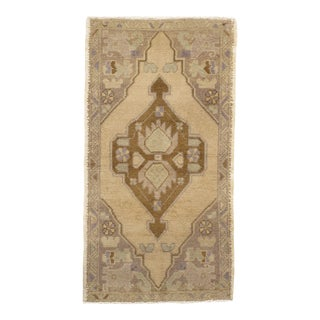 Vintage Turkish Oatmeal Yastik Hand Knotted Rug - 1'10 X 3'3 For Sale
