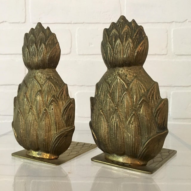 Pair of Mid-Century Brass Pineapple Bookends For Sale In Richmond - Image 6 of 6