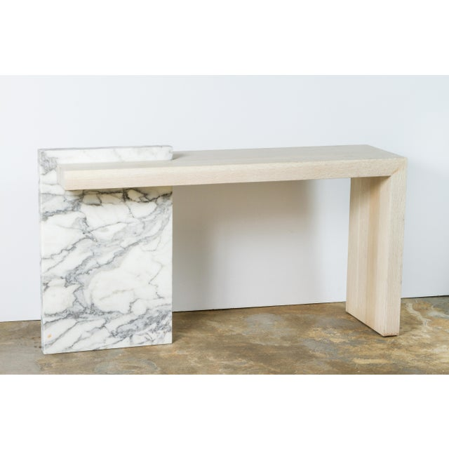 Contemporary marble and bleached oak console. By order. Stone and wood will vary throughout and will differ from order to...