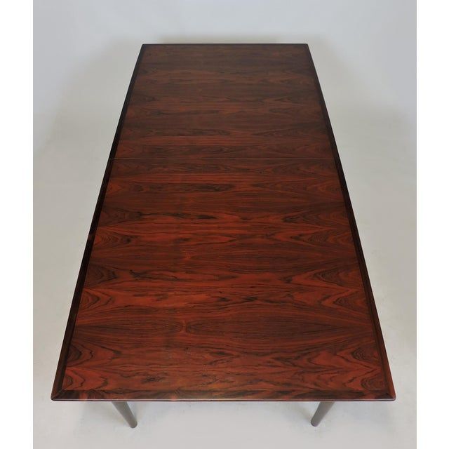 Brown Arne Vodder Expandable Danish Modern Rosewood Dining Conference Table Model 201 For Sale - Image 8 of 13