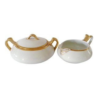 Limoges Gold Rim Cream & Sugar Set For Sale