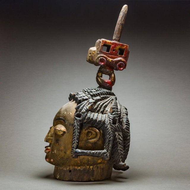 African Yoruba Wooden Polychrome Dance Mask For Sale - Image 3 of 4