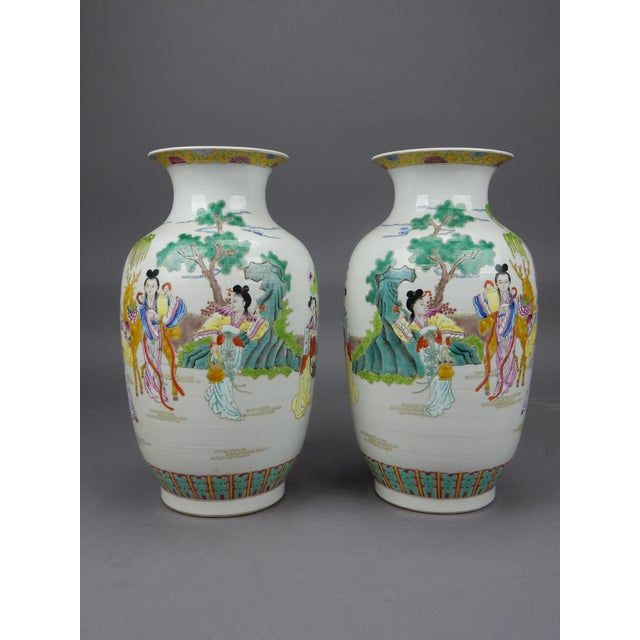 Gorgeous Pair of Chinese Famille Rose Mirror Imaged Immortal Vases For Sale - Image 13 of 13