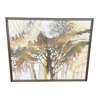 Vintage Ferrante Oil Painting Abstract Textural of Tree, Large For Sale