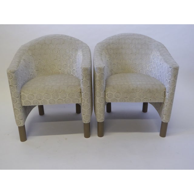 Great scale and style in this pair of club chairs by Brayton International Collection. Newly reupholstered in a luxe...