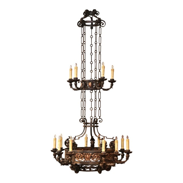 19th Century French Gothic Iron and Copper Two-Tier Fifteen Light Chandelier For Sale