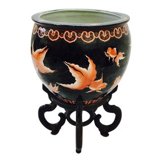 Vintage Asian Koi Jardiniere Planter on Wooden Stand