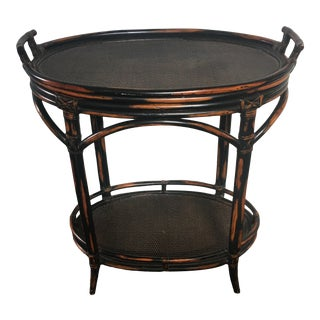 1980s Boho Chic Burnt Bamboo Rattan Tea Table With Removable Tray For Sale