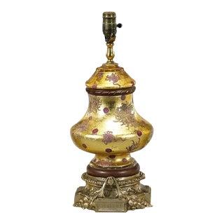 Vintage Eglomese Designer Decoupage Art Glass & Gilt Bronze Table Lamp For Sale