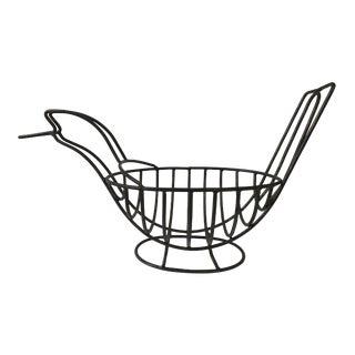 Vintage, Large Bird Shaped Wrought Iron Style Fruit Bowl/Basket