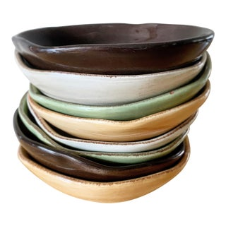 Set of Eight Earthy Freeform Pottery Bowls For Sale