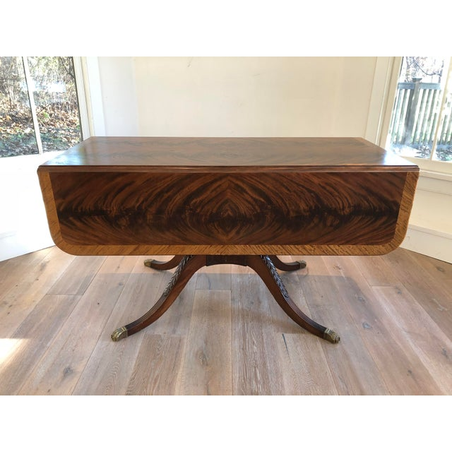 20th Century American Classical Drop-Leaf Library Table For Sale - Image 10 of 10