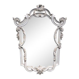 Continental Carved Neoclassical Grey Painted Shield Mirror For Sale