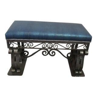Art Deco Steel Bench With Faux Alligator Blue Leather Upholstery For Sale