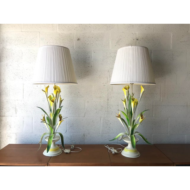 1970 Italian Tole Table Lamps - a Pair For Sale - Image 11 of 13