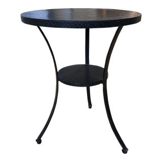 Crate & Barrel Round Hammered Metal Side Table For Sale