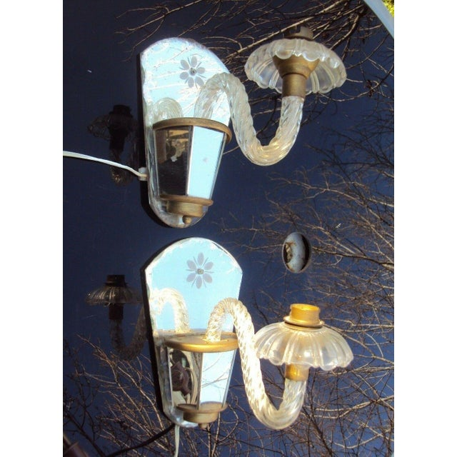 Glass C. 1940's Venetian Murano Hollywood Regency Crystal Mirrored Wall Sconces - a Pair For Sale - Image 7 of 7