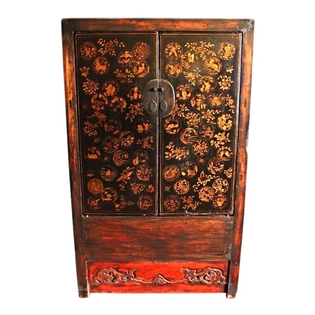 Early Chinese Armoire Lacquer Cabinet For Sale