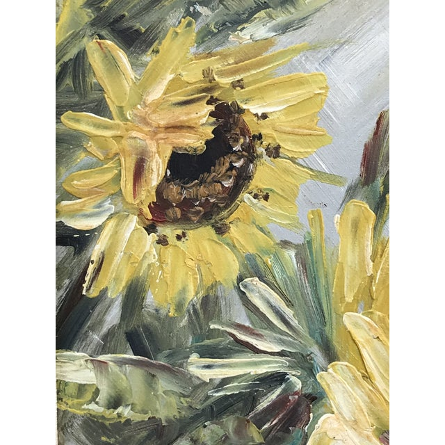 1960s Mid-Century Impressionist Painting of Sunflowers For Sale - Image 5 of 10