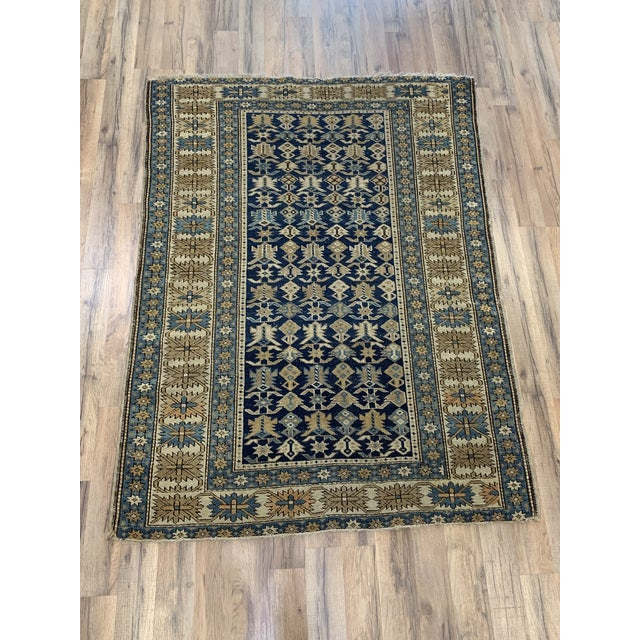 Late 19th Century Antique Russian Caucasian Rug- 3′10″ × 5′3″ For Sale - Image 11 of 11