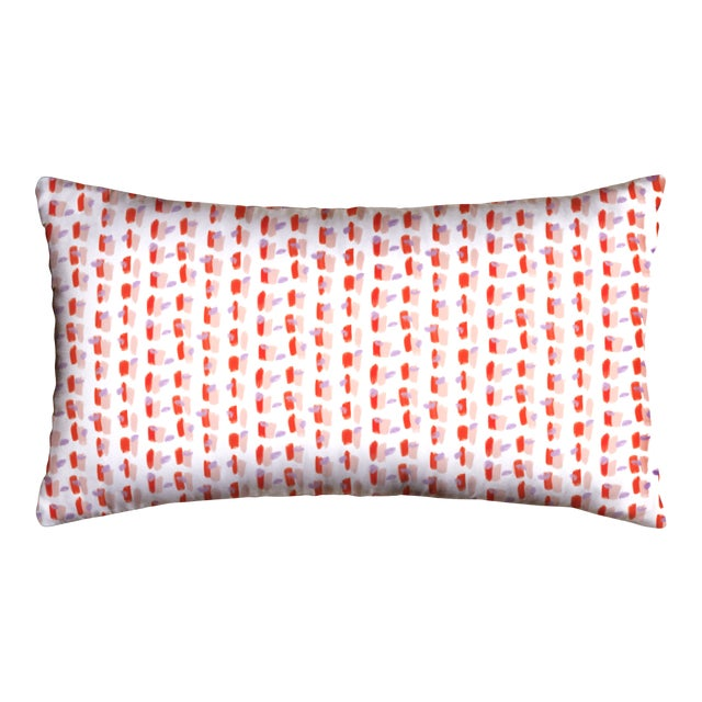 Pepper Poppy in Pink Lumbar Pillow For Sale