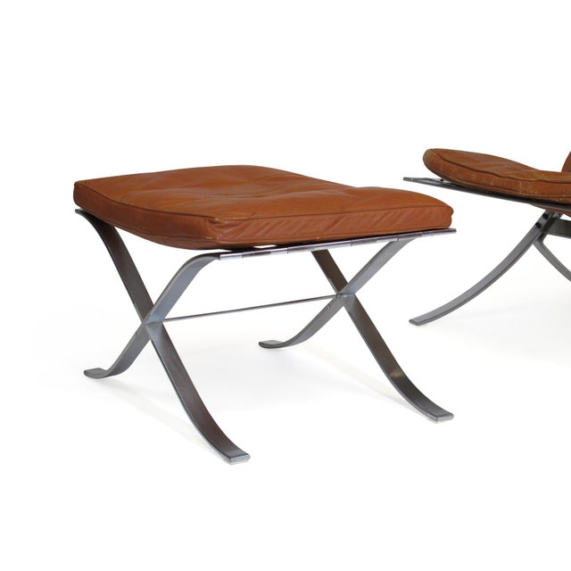 Steen Ostergaard Steel and Leather Lounge Chair & Foot Stool For Sale - Image 10 of 13