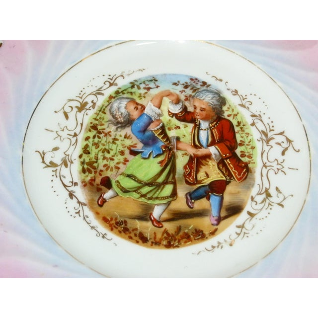 Antique Hand Painted German Children Dancing Decorative Cake Plate For Sale - Image 4 of 6