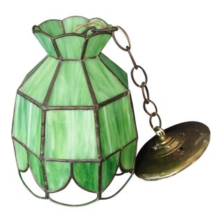 Vintage Leaded Green Slag Glass Pendant Light Fixture