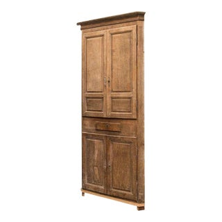 Gustavian Washed Oak Corner Cabinet 18th Century For Sale