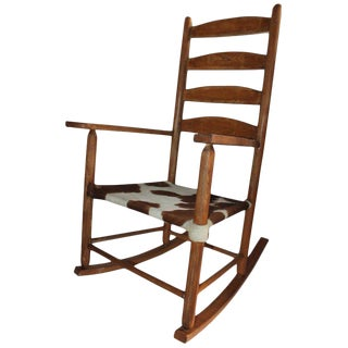 Early 20th Century South West Rocking Chair in Cowhide Seat For Sale