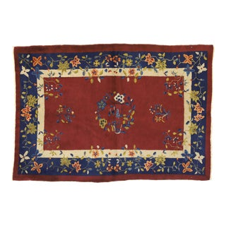 Antique Chinese Art Deco Rug - 04'02 X 05'09 For Sale