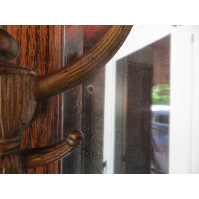 Antique Hanging Wall Mirror Tiger Oak With Hooks For Sale - Image 9 of 10