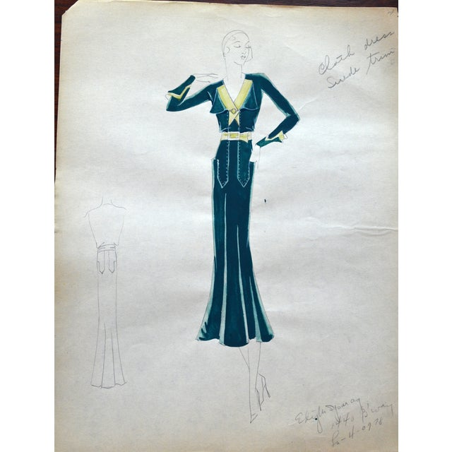 Art Deco Edith Sparag 1930s Blue Dress Fashion Sketch For Sale - Image 3 of 5