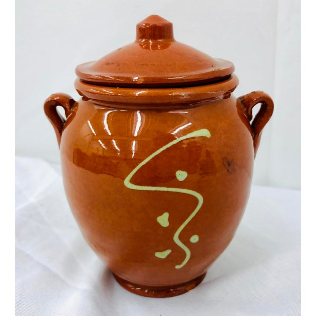 Vintage French Hand Painted Terra Cotta Clay Pottery Mustard Jar For Sale - Image 4 of 7