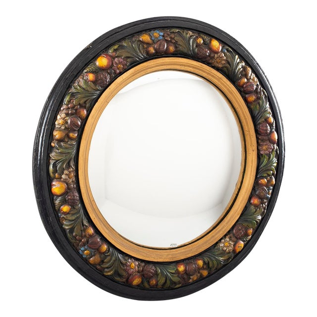 Large Round French Barbola Mirror For Sale