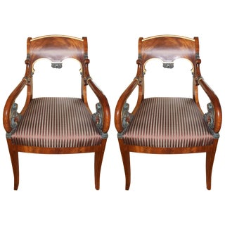 Russian Neoclassic Mahogany Armchairs - a Pair