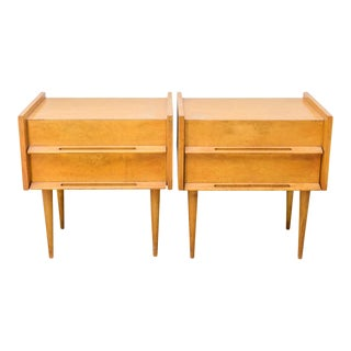 Pair of American Modern Birch Bedside Cabinets, Sir Edmond Spence For Sale