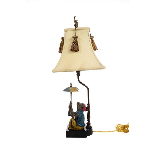 Monkeys Holding an Umbrella -Beautiful Vintage Table Lamps-A Pair For Sale - Image 4 of 10
