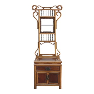 Chinese Oriental Wood Carving Cloth Rack Panel Wash Basin Stand For Sale