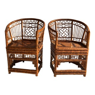 Vintage Chinoiserie Brighton Pavilion Tortoise Bamboo Arm Chairs, A-Pair For Sale