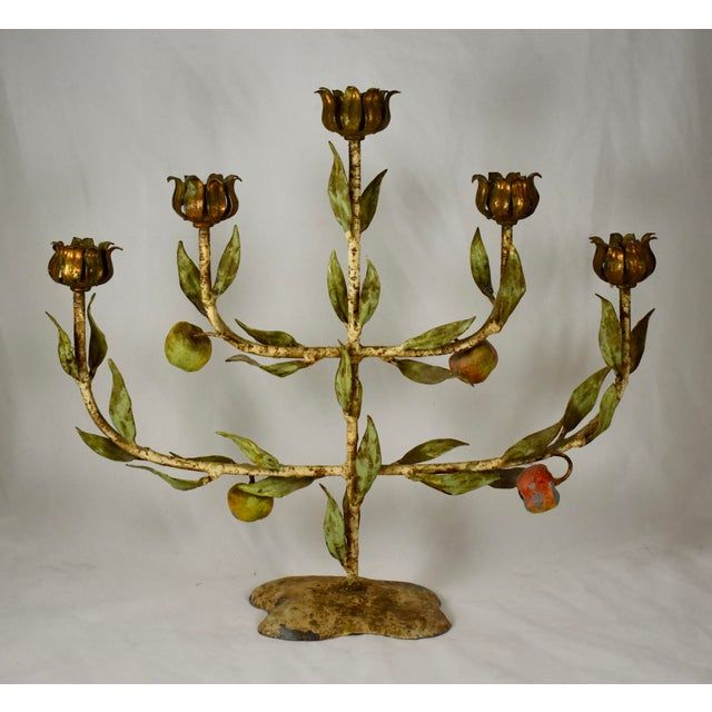 French Belle Époque Tôle Peinte Tree of Life Iron Candelabra, 1900-1910 For Sale - Image 13 of 13